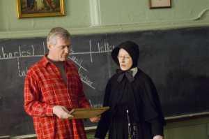 Shanley with Streep on set