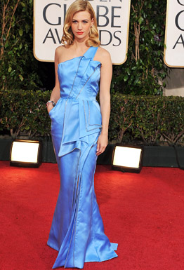 Actress January Jones arrives at the 66th Annual Golden Globe Aw