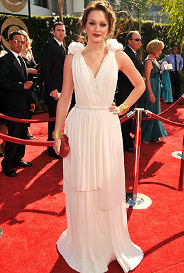Actress Leighton Meester arrives at the 61st Primetime Emmy Awar